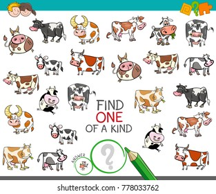 Cartoon Illustration of Find One of a Kind Picture Educational Activity Game for Children with Cow Characters