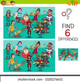 Cartoon Illustration of Find and Spot Six Differences Between Pictures Educational Activity Game for Kids with Pirates Fantasy Characters Group