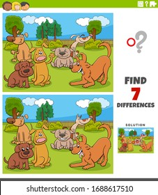 Cartoon Illustration of Finding Differences Between Pictures Educational Game for Children with Funny Dogs Group