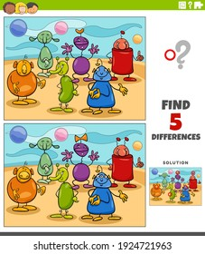 Cartoon illustration of finding the differences between pictures educational game for kids with aliens or funny fantasy characters