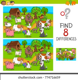 Cartoon Illustration of Finding Differences Between Pictures Educational Activity Game for Children with Comic Farm Animal Characters Group