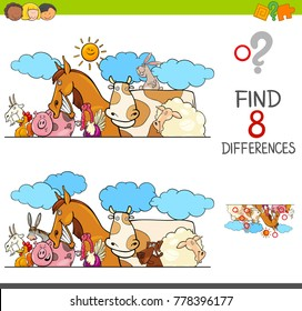 Cartoon Illustration of Finding Eight Differences Between Two Pictures Educational Activity Game for Kids with Farm Animal Characters Group