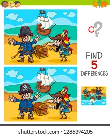 Cartoon Illustration of Finding Five Differences Between Pictures Educational Game for Children with Pirate Characters