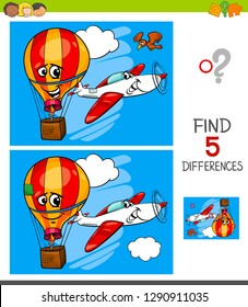 Cartoon Illustration of Finding Five Differences Between Pictures Educational Game for Children with Plane and Hot Air Balloon