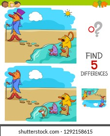 Cartoon Illustration of Finding Five Differences Between Pictures Educational Game for Children with Fish Out of Water Saying