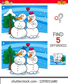 Cartoon Illustration of Finding Five Differences Between Pictures Educational Game for Children with Snowmen in Love