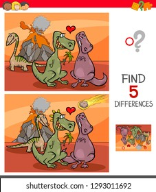 Cartoon Illustration of Finding Five Differences Between Pictures Educational Game for Children with Dinosaurs in Love