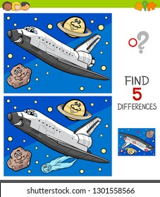 Cartoon Illustration of Finding Five Differences Between Pictures Educational Game for Children with Space Shuttle