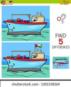 Cartoon Illustration of Finding Five Differences Between Pictures Educational Game for Children with Container Ship