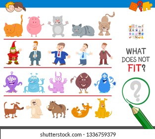 Cartoon Illustration of Finding Picture that does not Fit in a Row Educational Game for Elementary pr Preschool Kids
