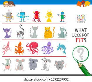 Cartoon Illustration of Finding Picture that does not Fit in a Row Educational Game for Elementary Age or Preschool Kids