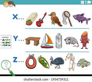 Cartoon illustration of finding pictures starting with referred letter educational activity worksheet for preschool or elementary school children with comic characters
