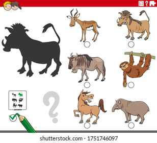Cartoon Illustration of Finding the Right Picture to the Shadow Educational Game for Children with Wild Animal Characters