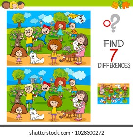 Cartoon Illustration of Finding Seven Differences Between Pictures Educational Activity Game for Kids with Children and Pets Characters Group