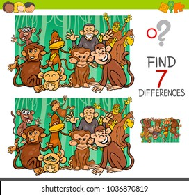 Cartoon Illustration of Finding Seven Differences Between Pictures Educational Activity Game for Kids with Monkeys Animal Characters Group