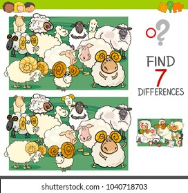 Cartoon Illustration of Finding Seven Differences Between Pictures Educational Activity Game for Kids with Sheep Farm Animal Characters Group
