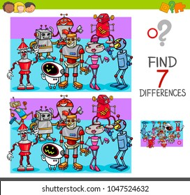 Cartoon Illustration of Finding Seven Differences Between Pictures Educational Activity Game for Kids with Robot Characters Group
