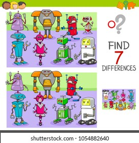 Cartoon Illustration of Finding Seven Differences Between Pictures Educational Activity Game for Children with Robots Fantasy Characters Group