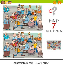Cartoon Illustration of Finding Seven Differences Between Pictures Educational Activity Game for Children with People Characters Group