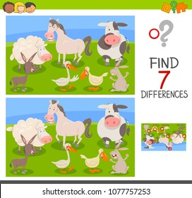 Cartoon Illustration of Finding Seven Differences Between Pictures Educational Activity Game for Children with Farm Animal Characters Group