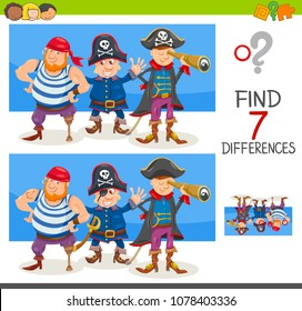 Cartoon Illustration of Finding Seven Differences Between Pictures Educational Activity Game for Children with Pirate Characters Group