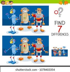 Cartoon Illustration of Finding Seven Differences Between Pictures Educational Activity Game for Children with Robot Characters Group