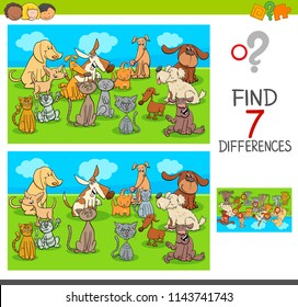 Cartoon Illustration of Finding Seven Differences Between Pictures Educational Game for Children with Pets Animal Characters Group