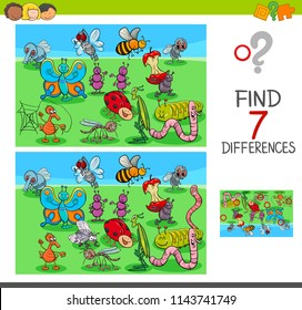 Cartoon Illustration of Finding Seven Differences Between Pictures Educational Game for Children with Insects Animal Characters