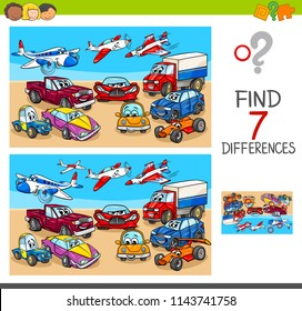 Cartoon Illustration of Finding Seven Differences Between Pictures Educational Game for Children with Transportation Vehicles Characters