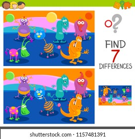 Cartoon Illustration of Finding Seven Differences Between Pictures Educational Game for Children with Monster Characters