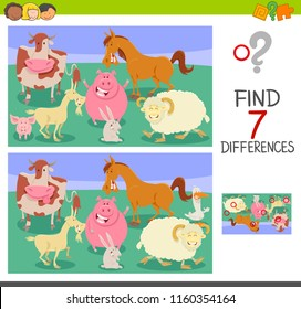 Cartoon Illustration of Finding Seven Differences Between Pictures Educational Game for Children with Farm Animals Characters