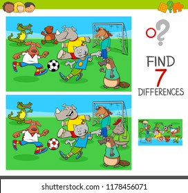 Cartoon Illustration of Finding Seven Differences Between Pictures Educational Game for Children with Soccer Players Animal Characters