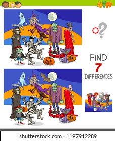 Cartoon Illustration of Finding Seven Differences Between Pictures Educational Game for Children with Funny Halloween Characters