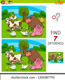 Cartoon Illustration of Finding Seven Differences Between Pictures Educational Game for Children with Farm Animal Characters