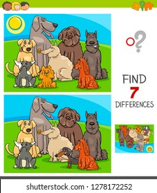 Cartoon Illustration of Finding Seven Differences Between Pictures Educational Game for Children with Purebred Dog Characters Group
