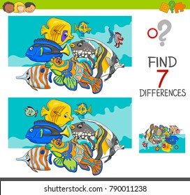 Cartoon Illustration of Finding Seven Differences Between Pictures Educational Activity Game for Kids with Fish Animal Characters Group