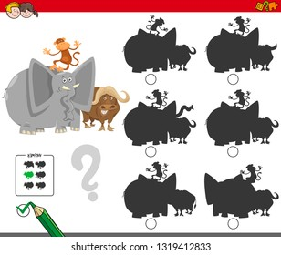 Cartoon Illustration of Finding the Shadow without Differences Educational Activity for Children with Funny Animal Characters