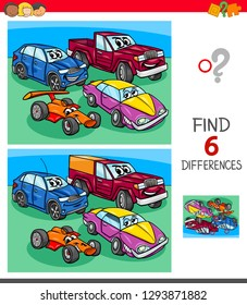 Cartoon Illustration of Finding Six Differences Between Pictures Educational Game for Children with Funny Cars