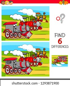 Cartoon Illustration of Finding Six Differences Between Pictures Educational Game for Children with Funny Locomotives