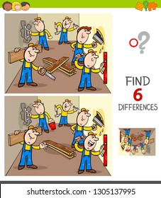 Cartoon Illustration of Finding Six Differences Between Pictures Educational Game for Children with  Workers and Builders at Work