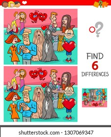 Cartoon Illustration of Finding Six Differences Between Pictures Educational Game for Children with Valentines Day Characters in Love
