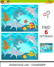 Cartoon Illustration of Finding Six Differences Between Pictures Educational Game for Children with Funny Sea Animal Characters