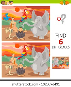Cartoon Illustration of Finding Six Differences Between Pictures Educational Game for Children with Happy Wild Animal Characters Group