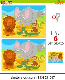 Cartoon Illustration of Finding Six Differences Between Pictures Educational Game for Children with Funny Animals