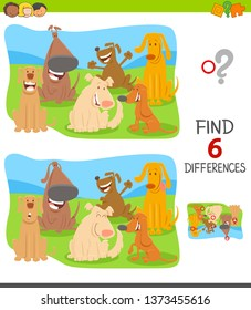 Cartoon Illustration of Finding Six Differences Between Pictures Educational Game for Children with Funny Dogs and Puppies Group