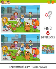 Cartoon Illustration of Finding Six Differences Between Pictures Educational Game for Children with Happy Kids with their Dogs Characters Group