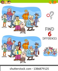 Cartoon Illustration of Finding Six Differences Between Pictures Educational Task for Children with People Group