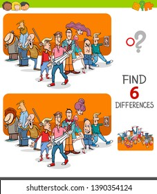 Cartoon Illustration of Finding Six Differences Between Pictures Educational Game for Children with People Characters Group