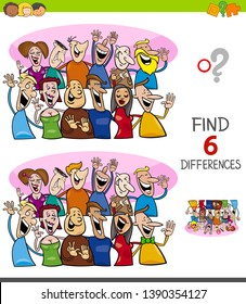 Cartoon Illustration of Finding Six Differences Between Pictures Educational Game for Children with Happy People Characters Group