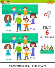 Cartoon Illustration of Finding Six Differences Between Pictures Educational Game for Children with Happy Kid Characters Group
